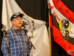 Chief Bruce Charlie of the Vuntut Gwitchin First Nation addresses a crowd in Whitehorse ahead of the Supreme Court of Canada hearing -
