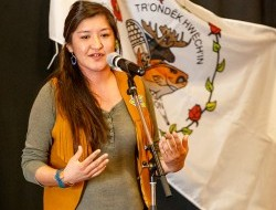Tetlit Gwich'in youth Bobbi Rose addresses a crowd in Whitehorse before the trip to Ottawa