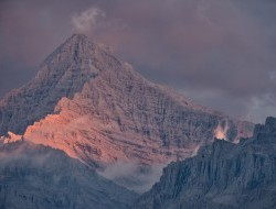 Alpenglow lights up Royal Mountain on the Wind River © Peter Mather -