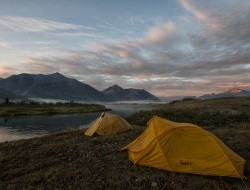 Tents pitched for the night in the Peel Watershed © Peter Mather -