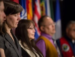The conservation groups and First Nations hold a press conference following the hearing © Justin Van Leeuwen