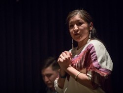 Tetlit Gwich'in citizen Bobbi Rose Koe speaks at the Peel Portrait Gallery opening © Justin Van Leeuwen