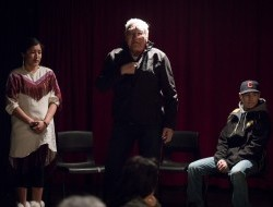 Tetlit Gwich'in elder Robert Alexie Sr. speaks at the Peel Portrait Gallery opening © Justin Van Leeuwen