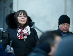 Chief Roberta Joseph of the Tr'ondek Hwech'in addresses the public outside prior to the Supreme Court hearing -
